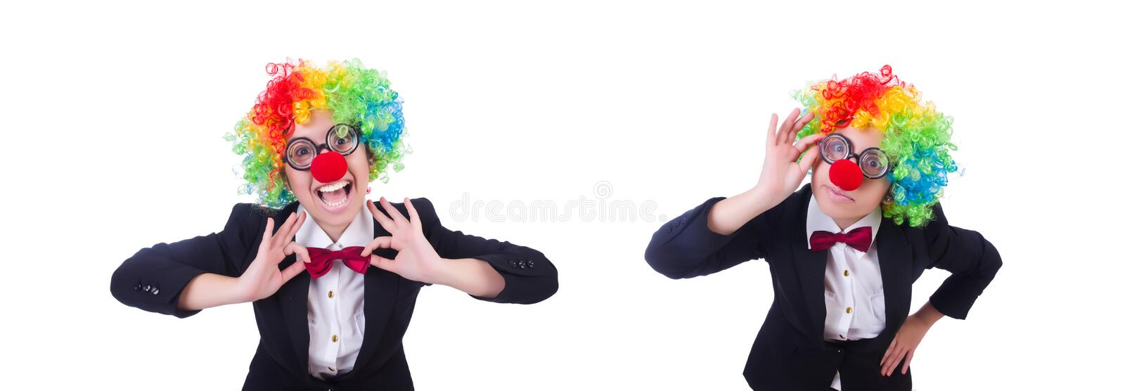 Woman clown businesswoman isolated on white royalty free stock images