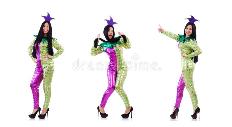 Woman clown isolated on white stock image