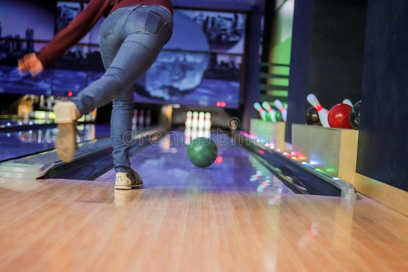 Woman in club for bowling royalty free stock photos