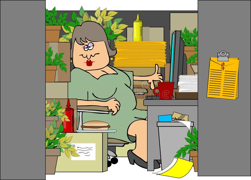 Woman In A Cluttered Cubicle stock illustration