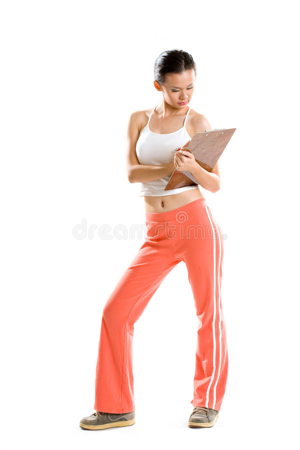 Woman coach note down records stock images