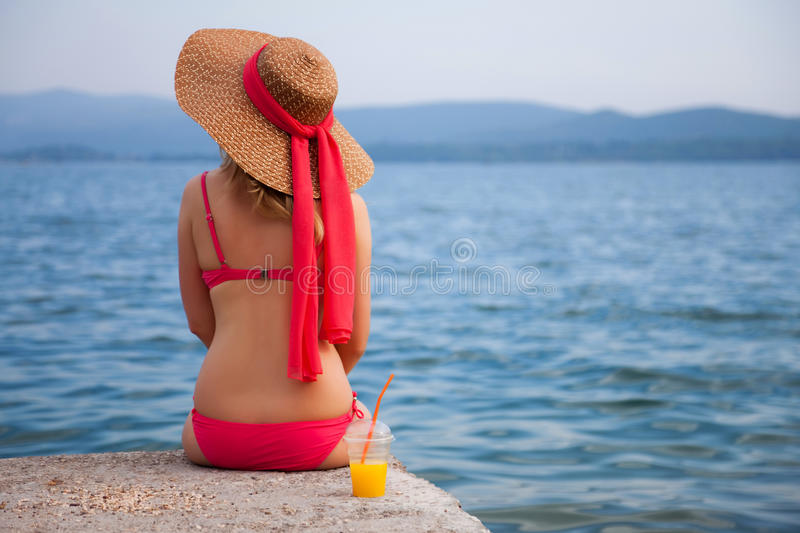 Woman&coast-78 royalty free stock image