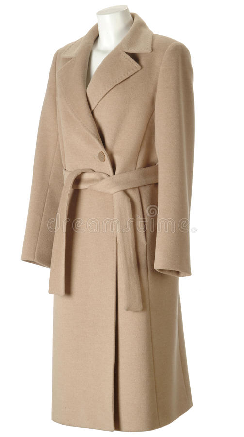 Woman coat. Classic beige woolen woman coat over white royalty free stock images