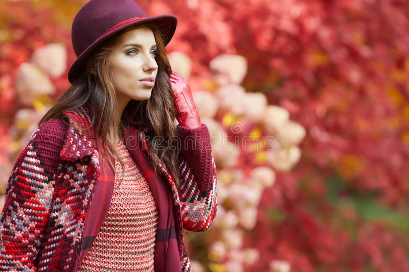 Woman in coat with hat and scarf in autumn park stock photo