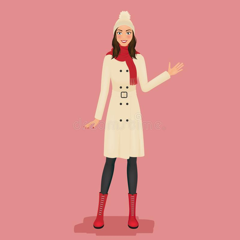 Woman in a coat, pom pom hat, red scarf and boots. Autumn or winter fashion. Vector illustration. stock illustration
