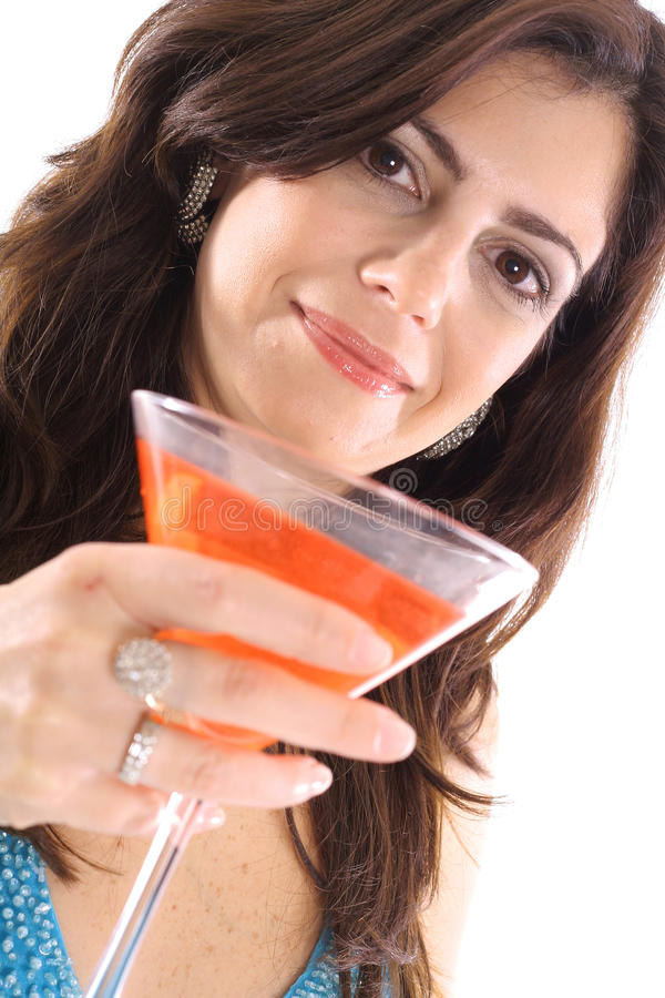 Woman With Cocktail Angle Stock Image
