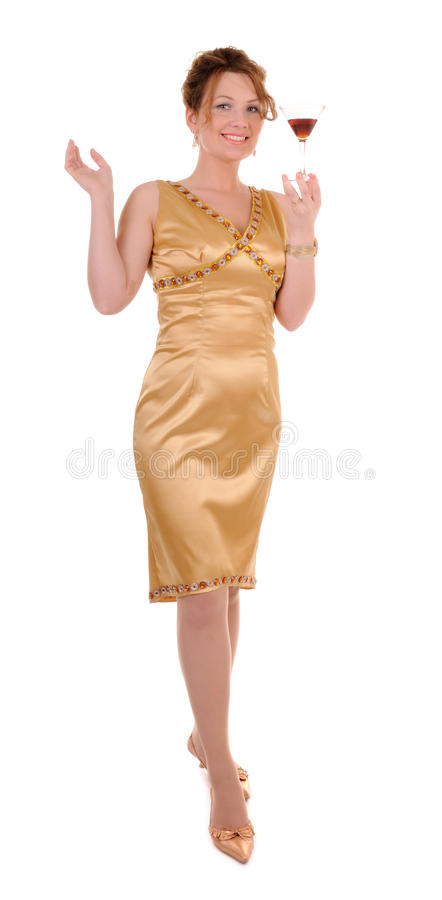 Download Woman In A Cocktail Dress With A Drink Stock Image - Image of dressed, celebration: 20430947
