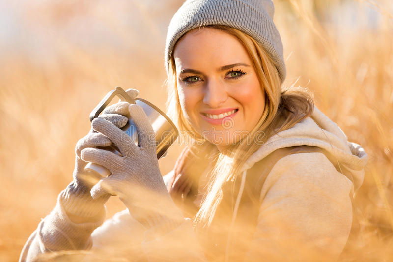 Woman coffee autumn stock photos