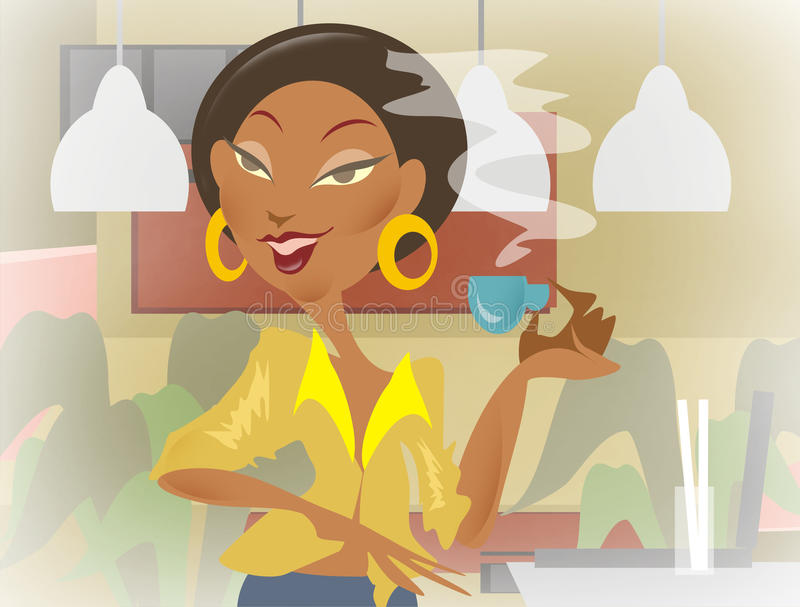 Download Woman With Coffee Cup stock illustration. Image of african - 11225848