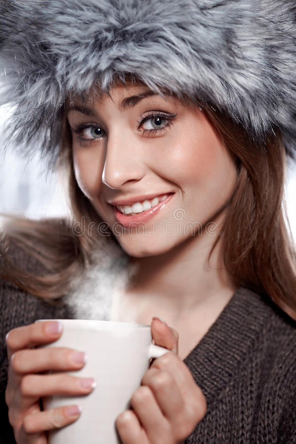 Woman With  Coffee Drink Royalty Free Stock Image