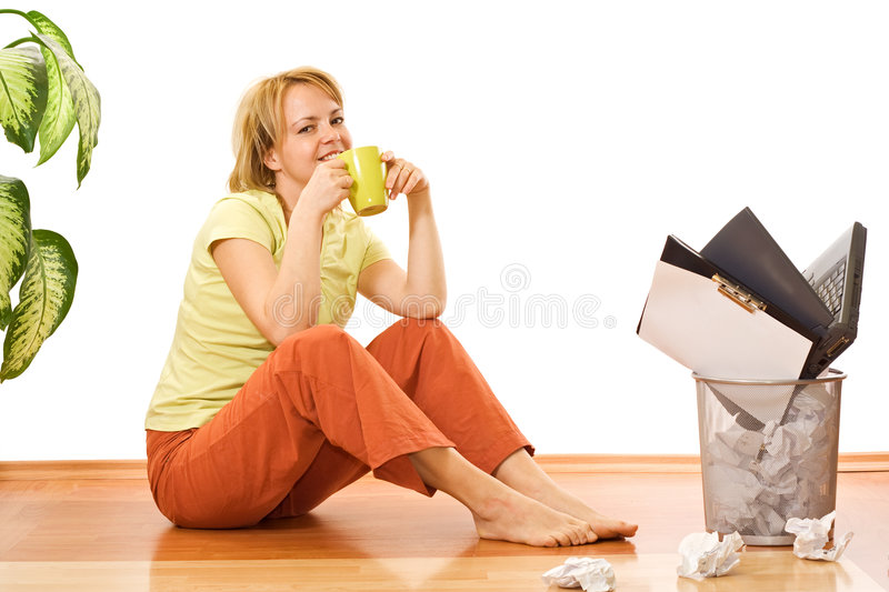 Download Woman With Coffee Or Tea Cup - Free From Work Stock Photo - Image: 6675268