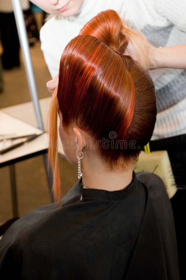 Woman coiffure stock photo