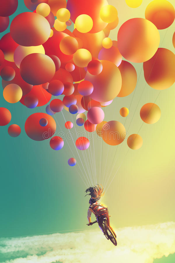 Woman with colorful balloons riding bike in the the sky stock illustration