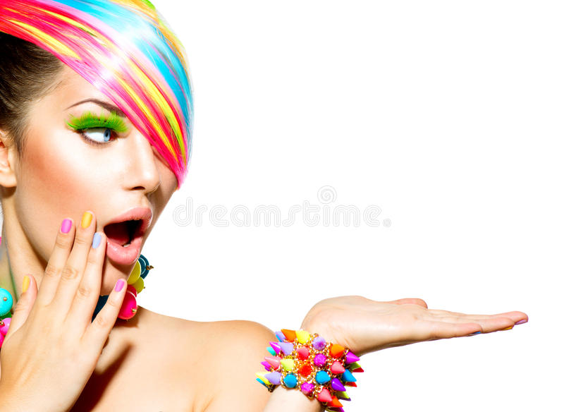 Woman with Colorful Makeup royalty free stock image