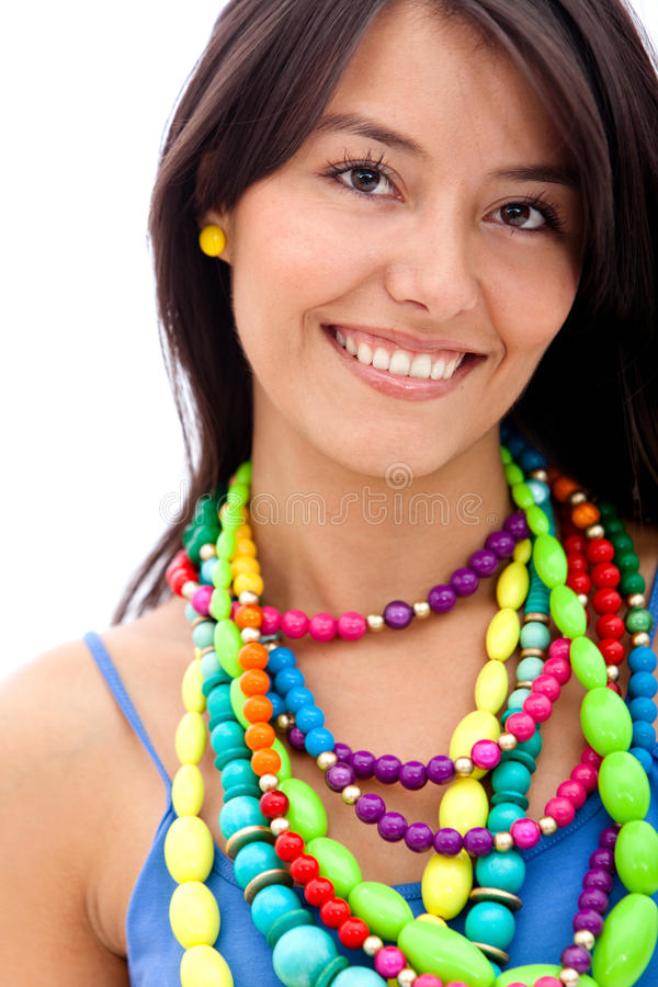 Woman with colorful necklaces