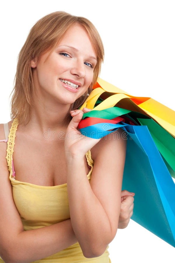 Download Woman With Colorful Shopping Bags Stock Photo - Image of market, enjoy: 15614606