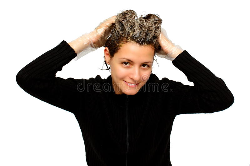 Download Woman coloring her hair stock image. Image of close, brunette - 23532593