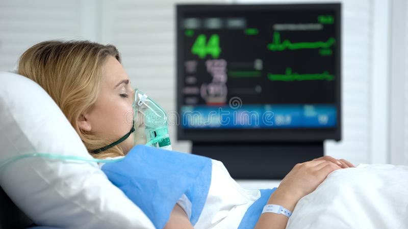 Critical Patient Sleeping In Hospital Stock Image Image