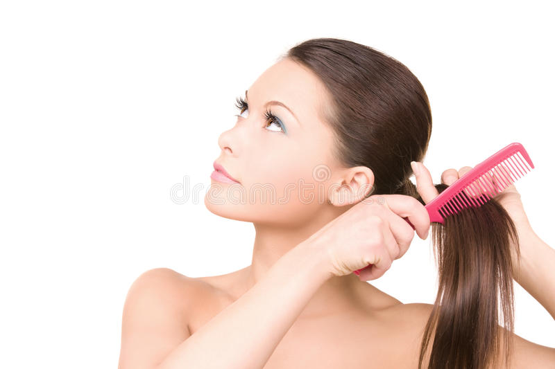 Woman with comb stock images