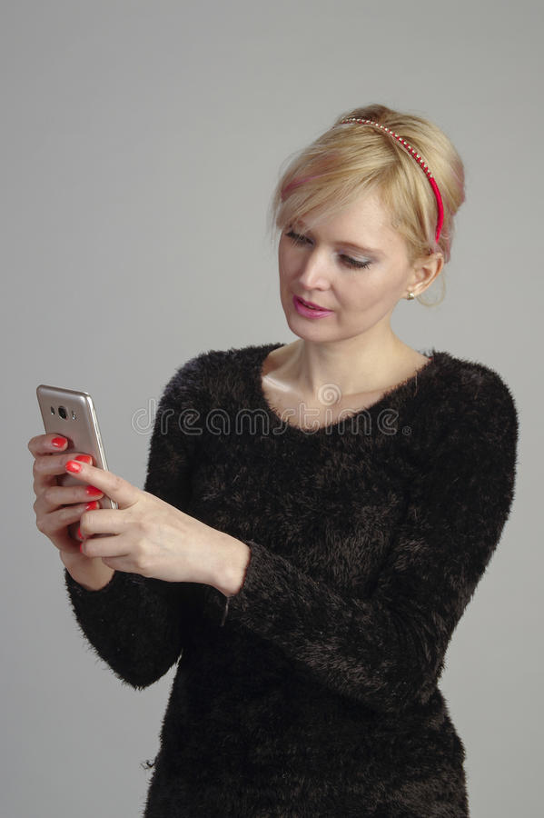 Woman, communicating with mobile royalty free stock photo