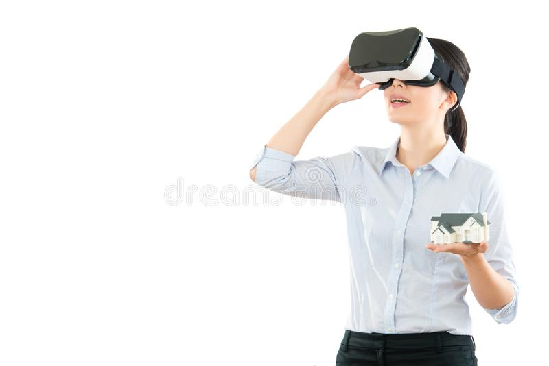 Woman communication with VR headset glasses royalty free stock photography