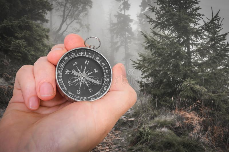 Woman with compass is seeking a right way in forest. Navigation concept royalty free stock image
