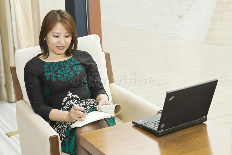 Woman and computer stock photo
