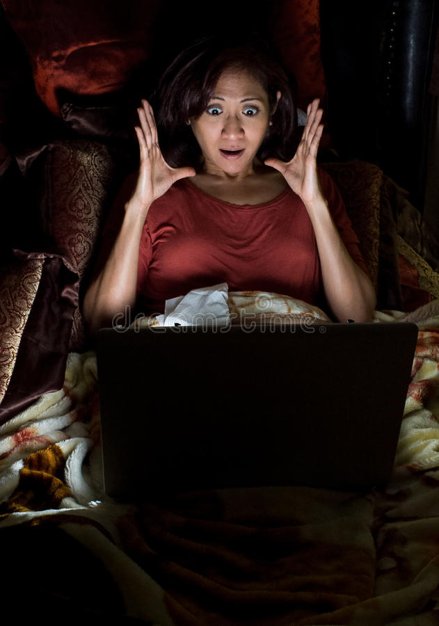 Download Woman on the computer stock image. Image of terror, female - 29435701