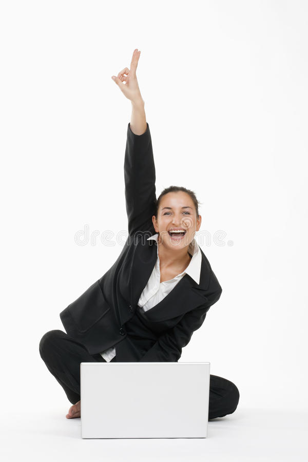 Download Woman With Computer Cheering Stock Image - Image: 10420755