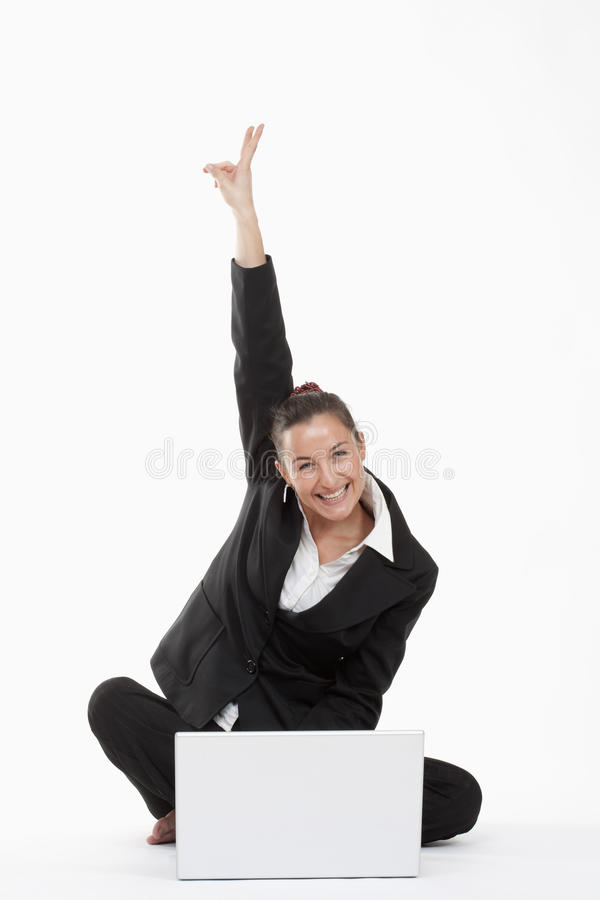 Download Woman With Computer Cheering Stock Photo - Image: 11438792