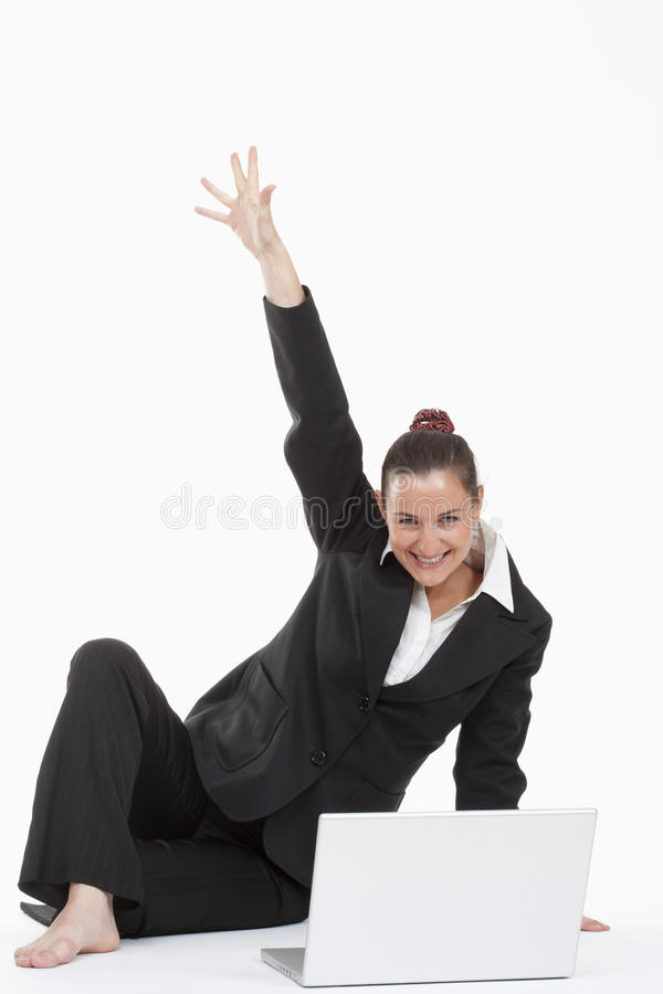 Download Woman With Computer Cheering Royalty Free Stock Images - Image: 12055829