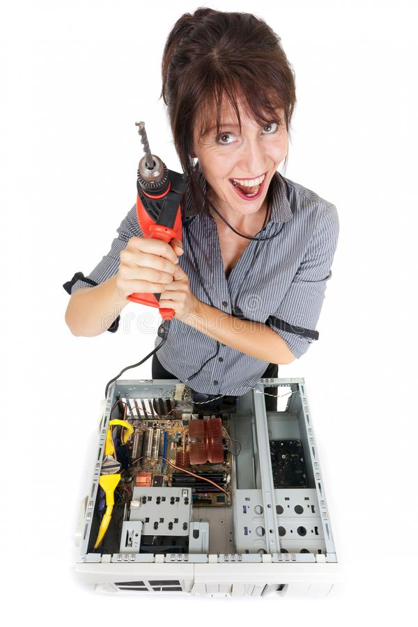 Download Woman  computer crisis stock photo. Image of exterminator - 26574252