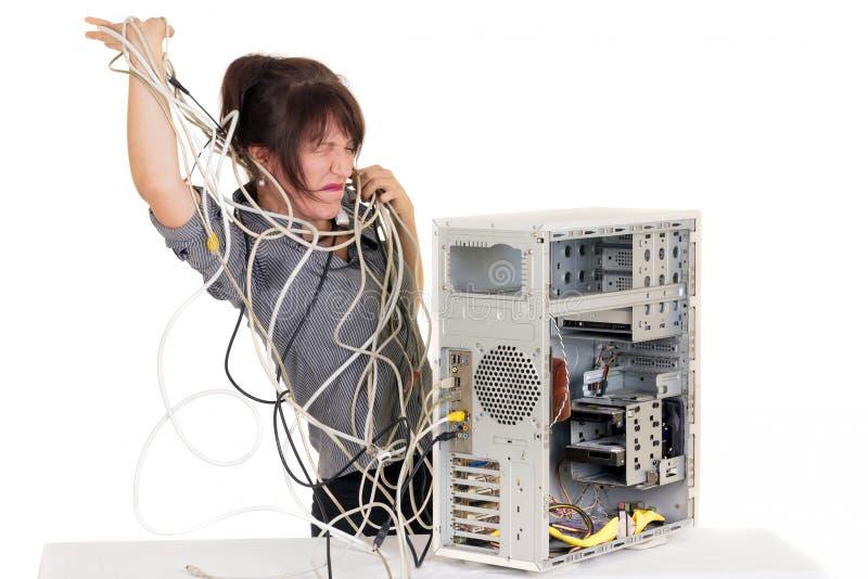 Woman Computer Panic Royalty Free Stock Photos