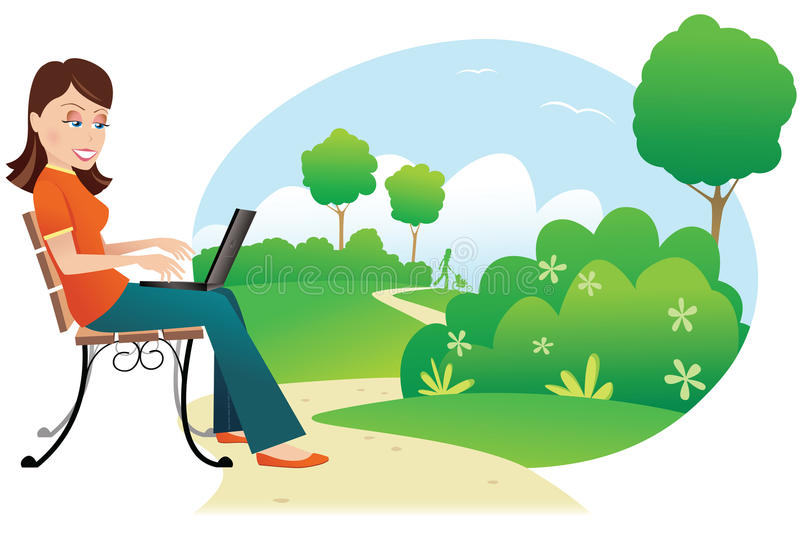 Woman with computer in park vector illustration