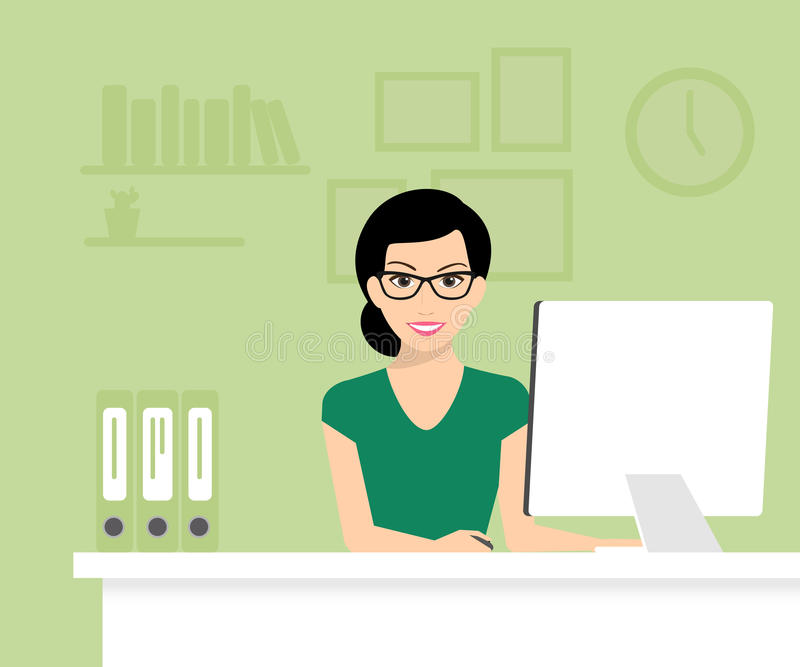 Woman with computer. Woman is wearing glasses and working with computer. Flat modern vector illustration stock illustration