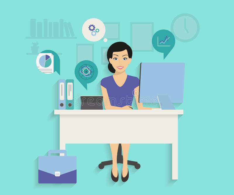 Woman with computer vector illustration