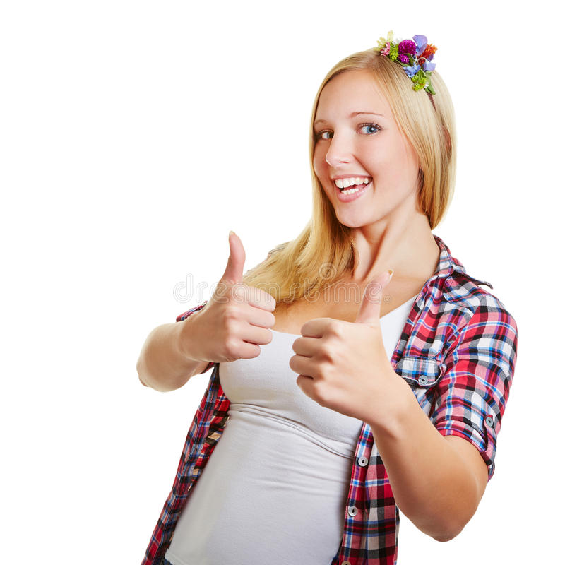 Download Woman Congratulates With Both Thumbs Up Royalty Free Stock Photography - Image: 34011167