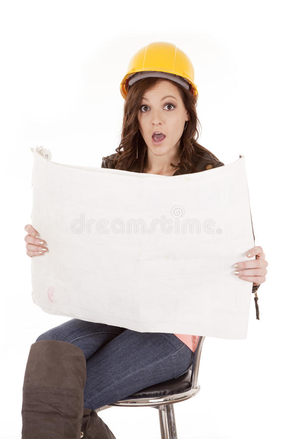 Woman Construction Plans Stock Images