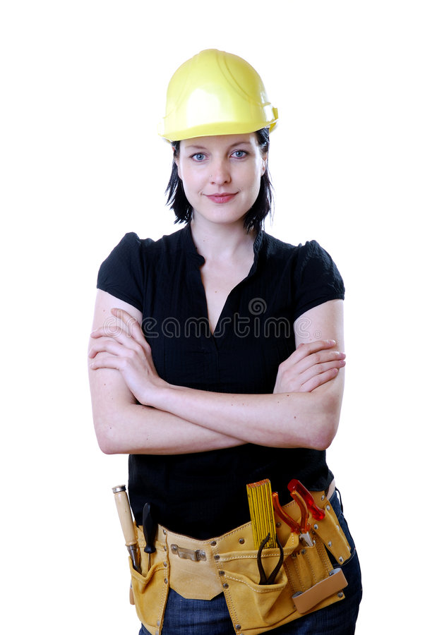 Woman construction worker royalty free stock image