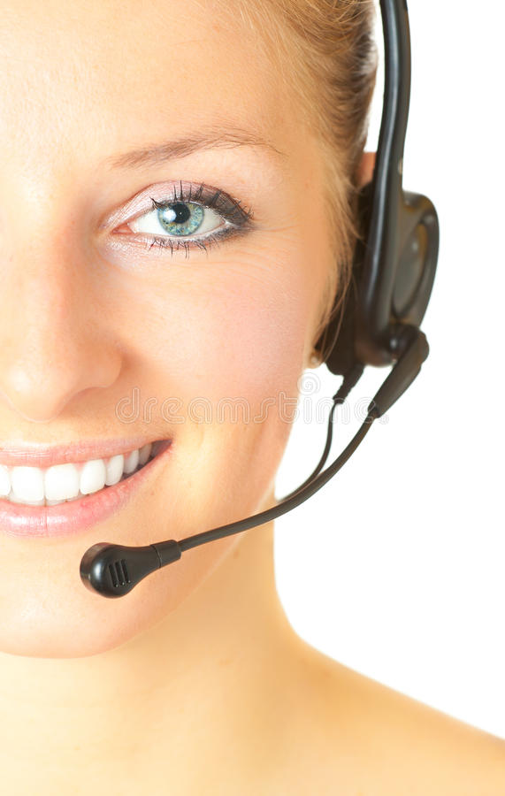 Download Woman Consultant With Headset Stock Image - Image of blue, call: 14435427