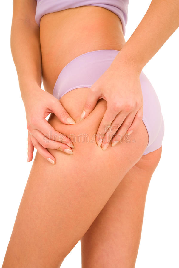 Woman controls the cellulite