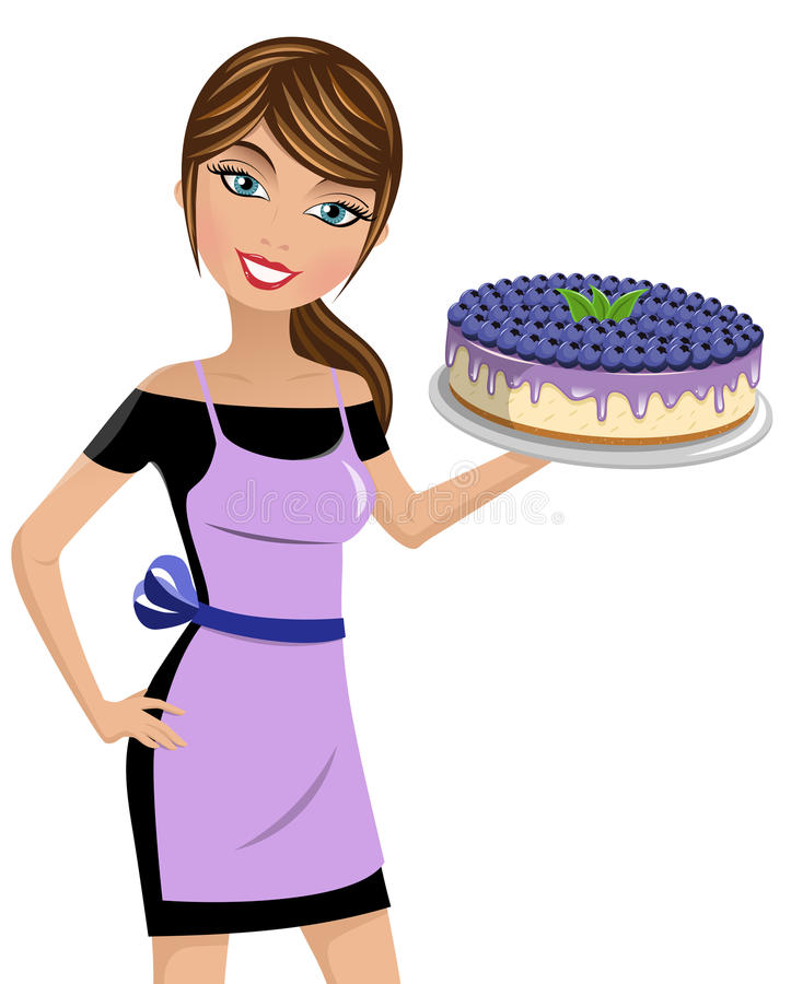Woman cook cheesecake blueberries isolated. Beautiful woman cook holding cheesecake with blueberries isolated stock illustration