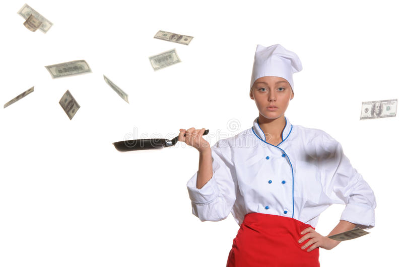 Download Woman-cook Frying Pan Catches Money Royalty Free Stock Image - Image: 22777906