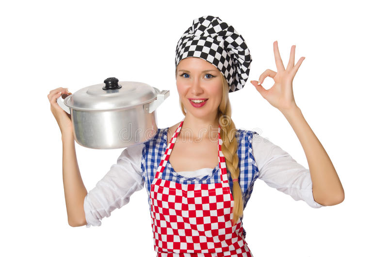 Woman cook isolated on the white background. The woman cook isolated on the white background stock photos