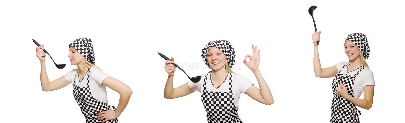 Woman cook isolated on the white background royalty free stock photos