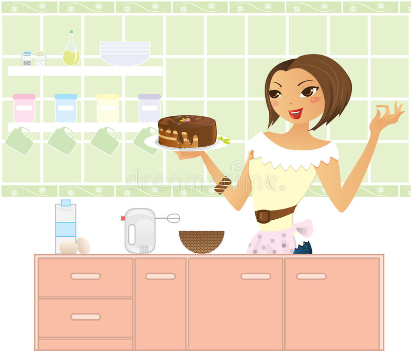 Woman cooking stock illustration