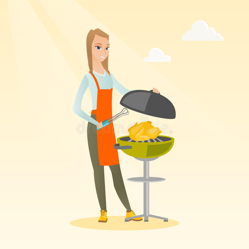 Woman cooking chicken on barbecue grill. royalty free illustration