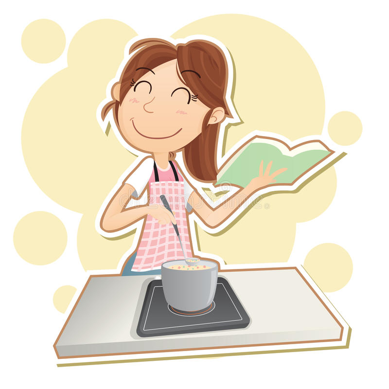 Woman cooking with cookbook. Cartoon smiling woman cooking at stove with cookbook vector illustration
