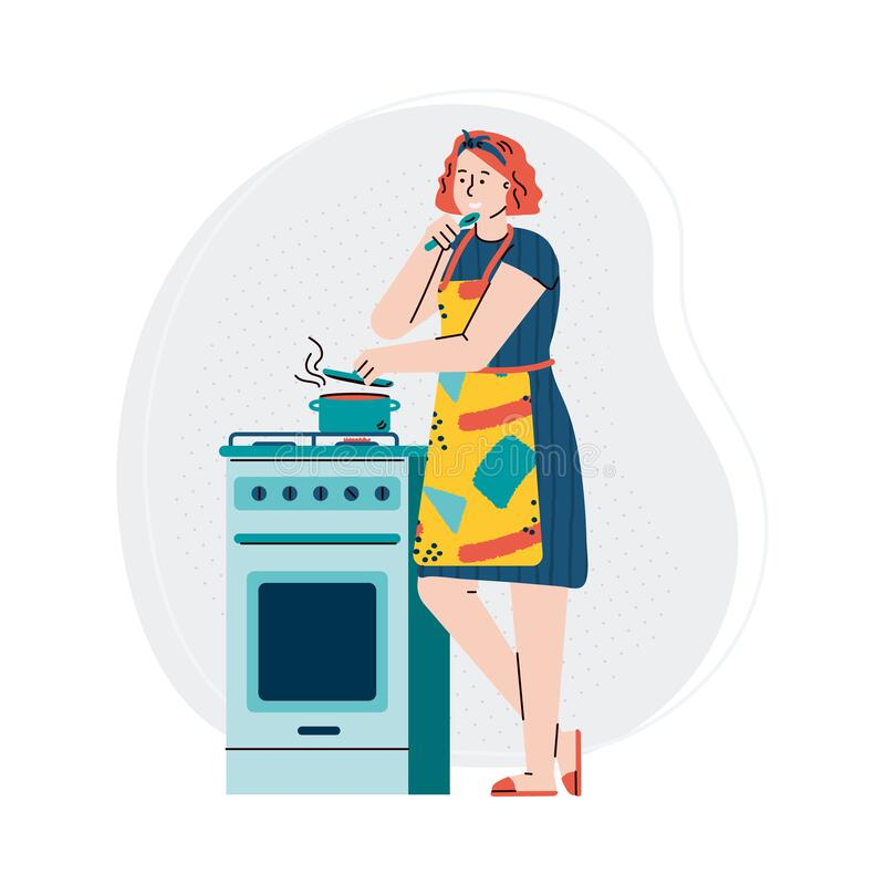 Free Woman Cooking Food On Kitchen Stove - Cartoon Girl Tasting Boiling Soup Royalty Free Stock Images - 193108219