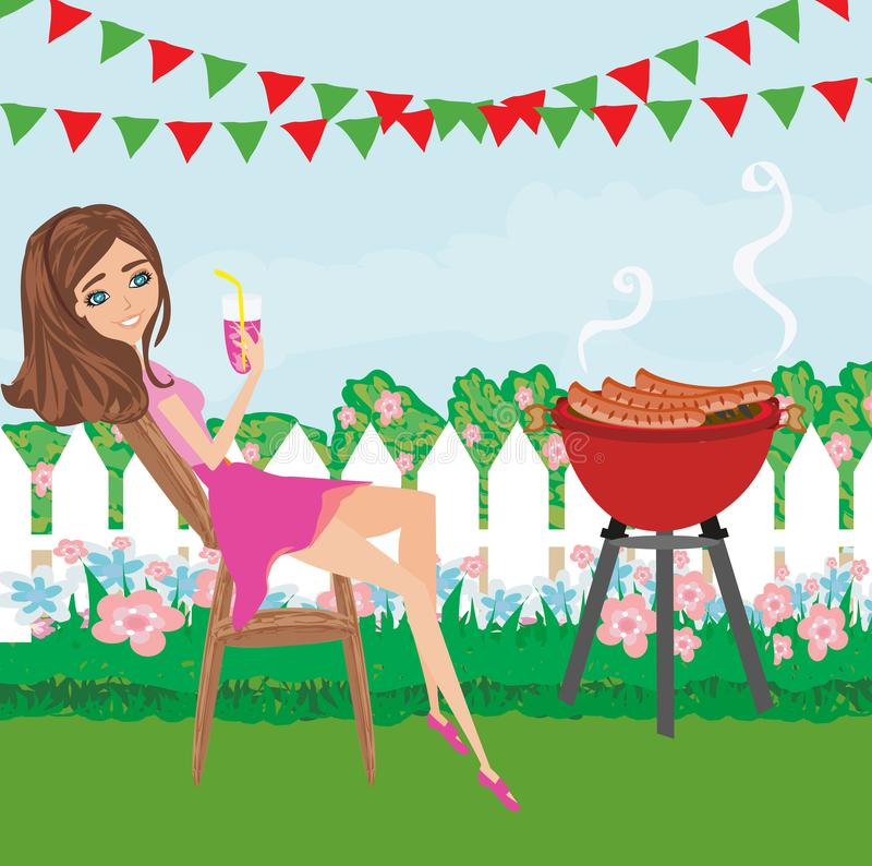 Woman cooking on a grill. Vector Illustration vector illustration